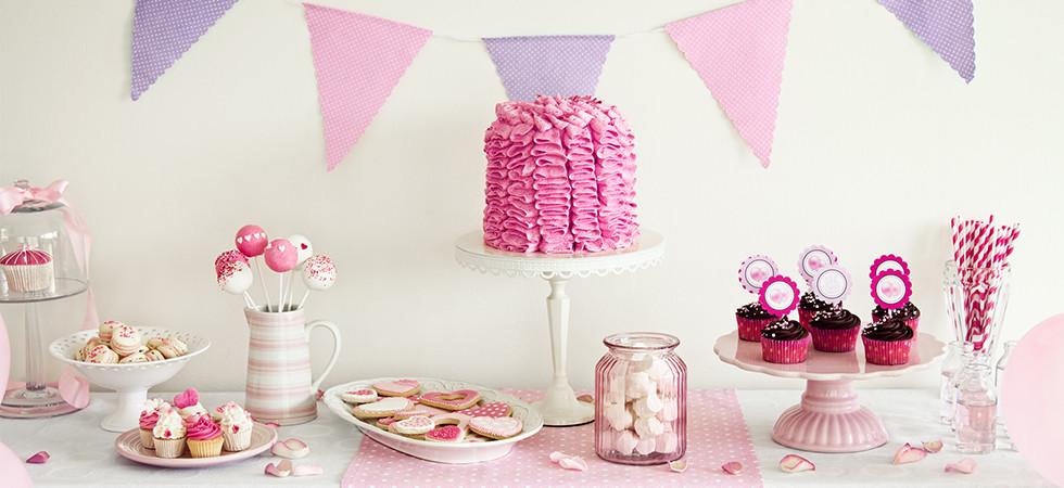 Mesa dulce lila y rosa - Fiesta dulce